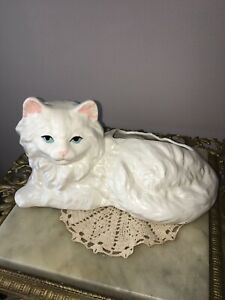 Pottery-Cat-Planter-White-Ceramic-Cat-Vase
