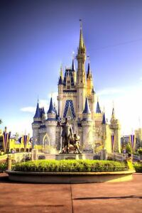 """Disney Castle   PICTURE CANVAS WALL ART 20/""""X30/"""" on offer"""