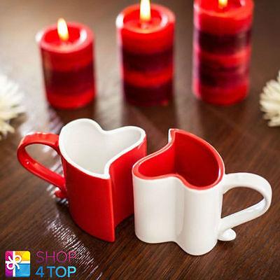 HEART SHAPE 2 MUGS CUPS COFFEE TEA CERAMIC RED WHITE LOVE VALENTINE NEW