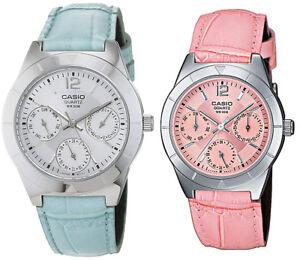 5e674b8728fc Reloj Casio LTP-2069L Rosa o Azul Correa Cuero Analógico Mujer o ...