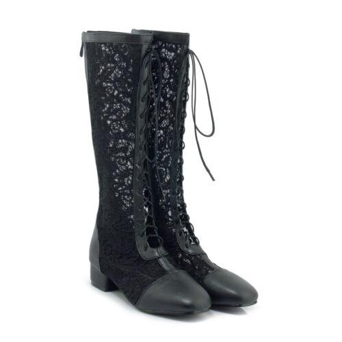 Mesh Schnürschuhe Lesbie Boots Stiefel Sommer Wadenhohe Damenschuhe Loch xoeQdCrWB