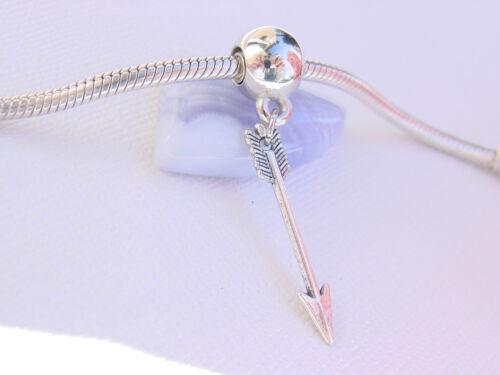 Cute 3D Silver Tone hunger games Arrow Bow Hunter Dangle Charm fits Bracelet