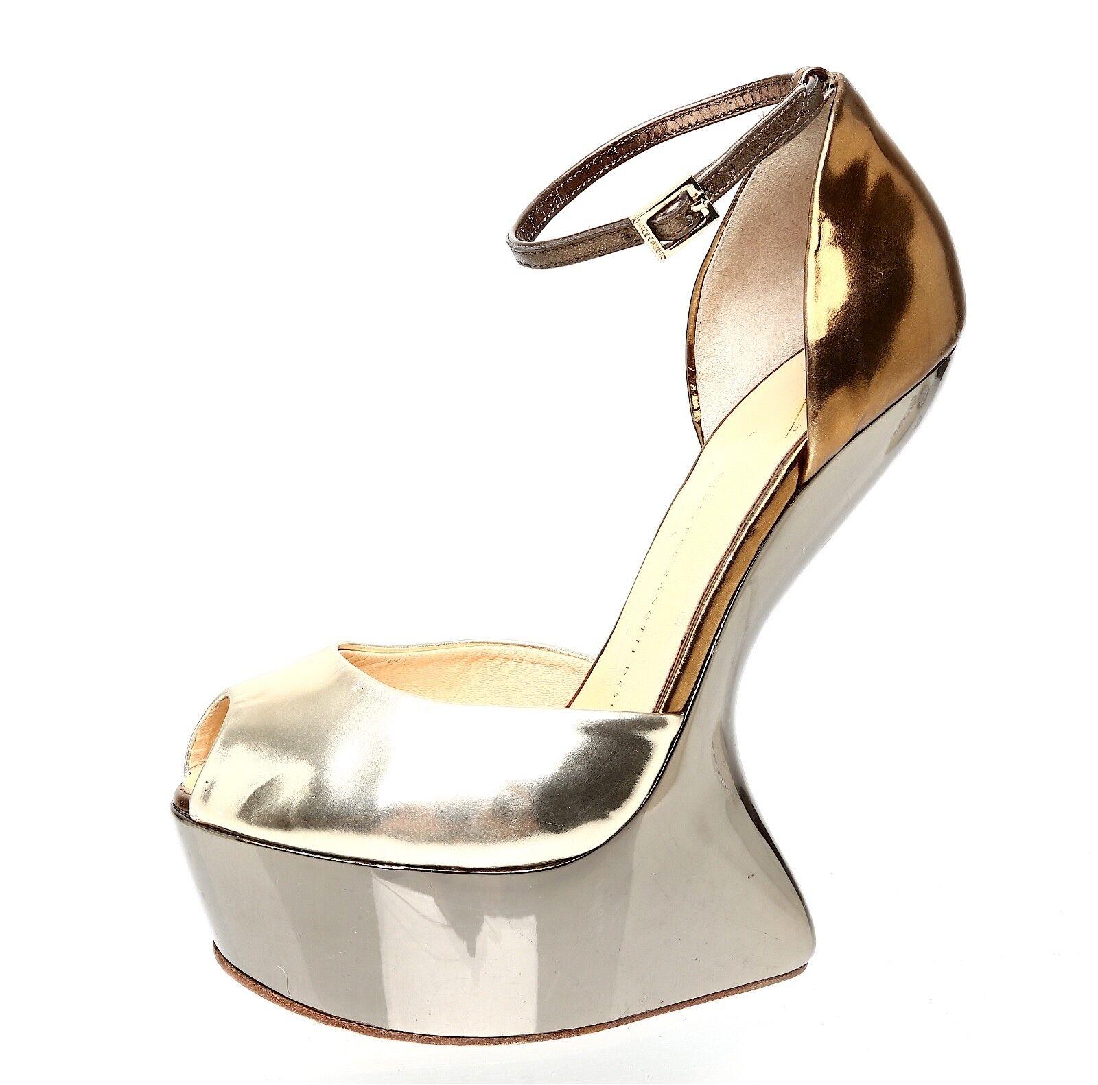 Giuseppe Zanotti Design Heel Less Leather Platform Metallic Donna Sz 40 EUR 1676