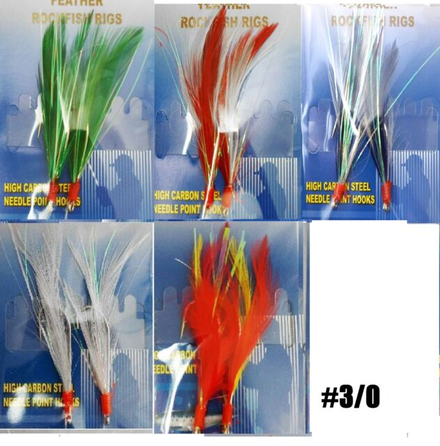 20packs Size 4//0 Fishing Rockfish Rig 2Hook Feather Grouper Bass Bait White #4//0