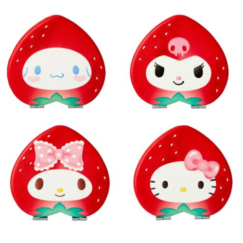 Japan Cinnamoorll Kuromi My Melody Hello Kitty Pocket Compact Mirror Strawberry
