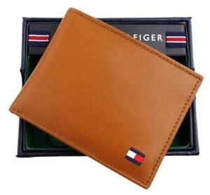 Tommy-Hilfiger-Men-039-s-Dore-Tan-Leather-Passcase-Credit-Card-Billfold-Wallet