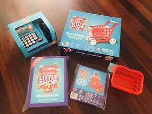 Coles Little Shop Basket,Apron,Bags,Cash Register, Trolley & Folder Pretend Play