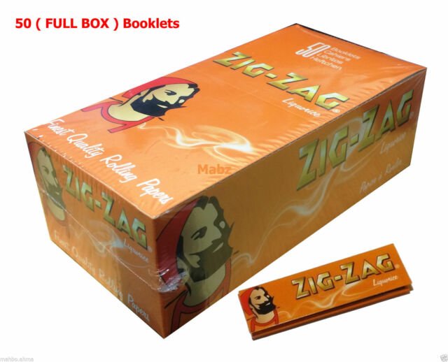 Zig Zag Liquorice Tobacco Cigarette Rolling Papers - FULL BOX of 50 BOOKLETS