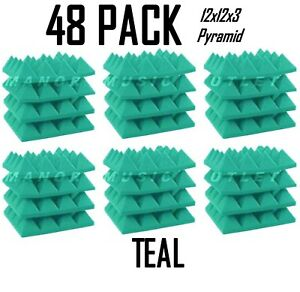 """48 Pack Acoustic Foam Teal 12x12x3"""" Tiles Recording Studio Soundproofing ProPack"""