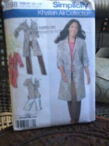 Simplicity-Pattern-Khaliah-Ali-Women-039-s-DRESS-SHIRT-JACKET-4198-18W-24W-UNCUT
