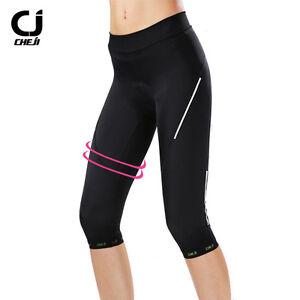 CHEJI-Ladies-3-4-Cycling-Pants-Compression-Women-039-s-Padded-Bike-Shorts-Knicks