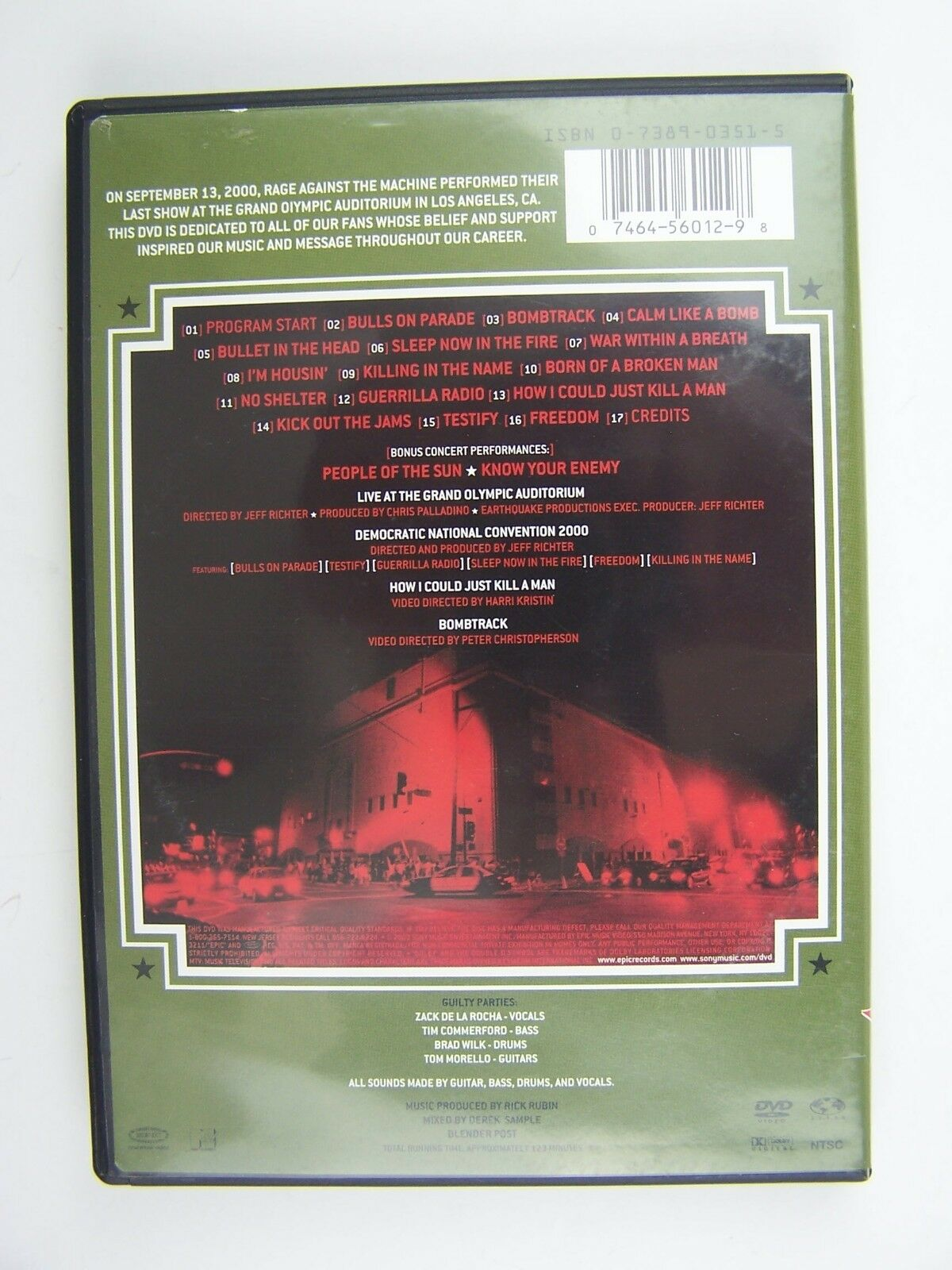 Rage Against The Machine - Live at the Grand Olympic Au