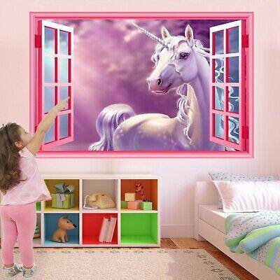 Unicorn Muro Adesivo Murale Decalcomania Stampa Arte Bambine Camera Da Letto Vivaio Arredamento Ct76-