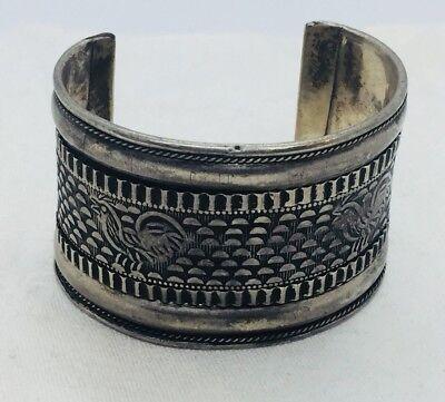 Turquoise Cuff Bracelet,Tribal Cuff Vintage Bedouin,Afghan Silver Cuff Bracelet,Boho Kucchi jewelry,Statement Cuff bracelets Taneesi