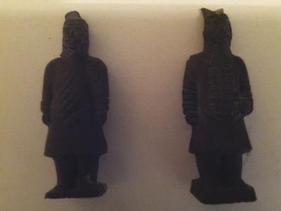 "Chinese Black Terracotta Warrior Figurines (2) 5"" Army of Qin Shi Huang - Xian"