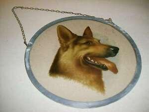 Rundes-Glasbild-mit-Metallrahmen-und-Kette-Motiv-Schaeferhund-Hund-16-cm-Durchmes