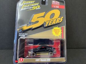 JOHNNY LIGHTNING JLCP7197 50th ANNIVERSARY 1991 HONDA CRX 1//64 BLACK GOLD