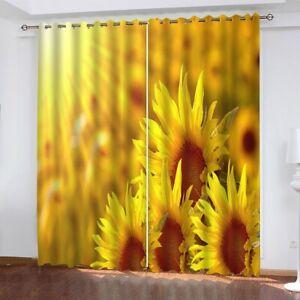 Sunflower Window Curtain 3d Printed Curtains Drapes For Bedroom Livingroom Dorm Ebay