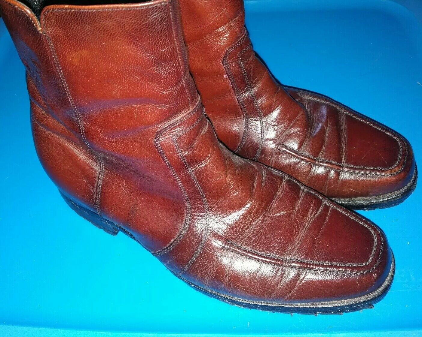 Florsheim 33437 Mens Ankle Boots Zipper  Leather Size 9 EEE 3E extra wide beatle