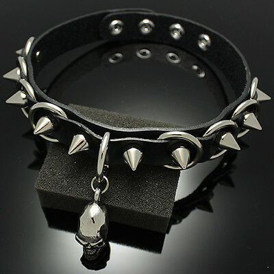 Collar Punk Goth Emo Real leather Choker Necklace RC034