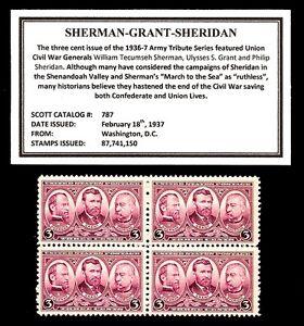 1937-SHERMAN-GRANT-SHERIDAN-Mint-MNH-Block-of-4-Vintage-Postage-Stamps