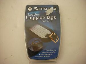 Samsonite-Leather-Luggage-ID-Tags-Black-NIP