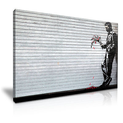 BANKSY WAITING IN VAIN GRAFFITI CANVAS PICTURE PRINT CHUNKY FRAME LARGE #A364