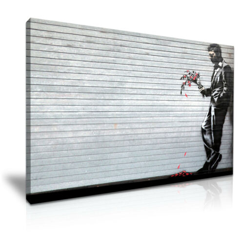 ' Banksy Waiting in Vain ' Modern Graffiti Wall Art Deco Canvas Box 1 Panel