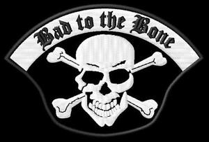 ricamate Biker aufbügler Bad to the Bone patch Iron on, badge