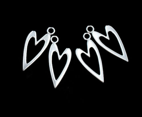 925 Sterling Silver 4 Heart Charms 9x18mm.