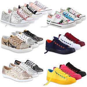 Damen Sneakers Snake Animal Print Lederoptik Schnürer 75269 Schuhe