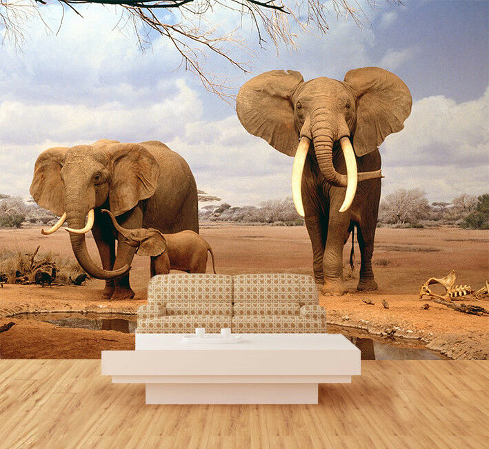 3D Animal Elephant Wallpaper Murals Wall Print Wallpaper Mural AJ WALL AU Lemon