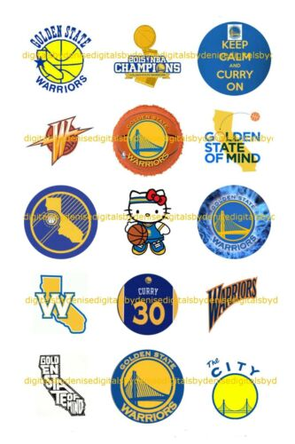 """GOLDEN STATE WARRIORS 1/"""" CIRCLES  BOTTLE CAP IMAGES $2.45-$5.50 FREE SHIPPING"""
