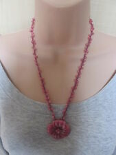 Lola Rose Pink Semi Precious Stones Bead Flower Necklace & Pouch& Gift Card NEW