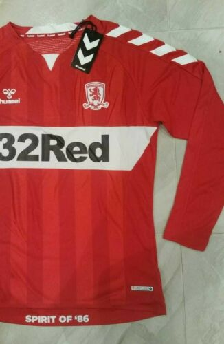 Middlesbrough FC Football Shirt Home Soccer Jersey 2019 Boro Hummel LS MENS LRG