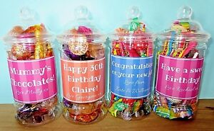 Personalised Sweet Chocolate Gift Jars Wedding Birthday Party