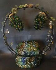 Antique Czech Glass Grape Basket Lamp - FREE SHIPPING