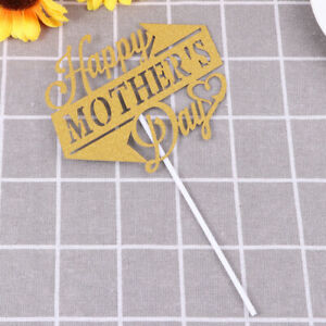 10pcs Happy Mothers Day Cake Toppers Golden Cake Picks Sticks for Gifts