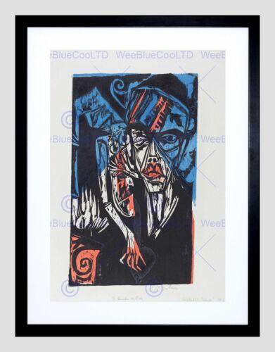 ERNST LUDWIG KIRCHNER GERMAN QUALEN DER LIEBE BLACK FRAMED ART PRINT B12X5189