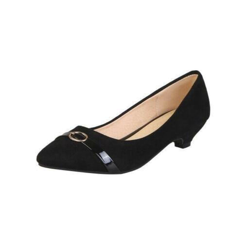 Details about  /Kitten Heel Faux Suede Pointy Toe Womens Slip On Loafers Dress Formal Work Pumps