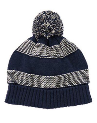 NWT Gymboree Striped Fleece Lined Pom Pom Sweater Hat Navy Boys M 7 8 L 10 12