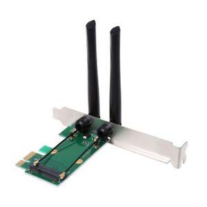 Pci Wlan Karte.Details Zu Wireless Wlan Karte Wlan Pci E Express Zu Pci E Adapter 2 Antenne Externer Pc