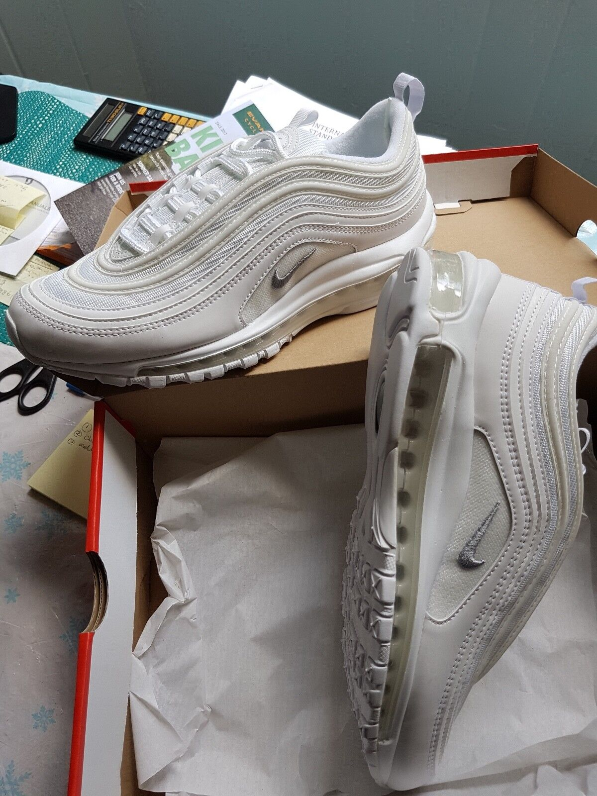 new concept 80a5c 2d076 Nike Air Max 97 Triple white UK Size Size Size 8.5  New with Box 65b766