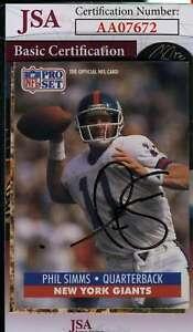 Phil Simms 1991 Pro Set Jsa Coa Hand Signed Authentic Autograph