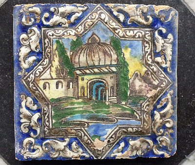 Antique Persian Delft Maiolica Relief Tile Mosque 18th C.