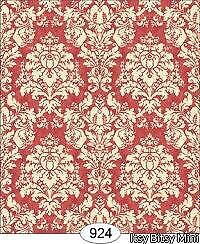 0924 FRENCH DAMASK RED MINIATURE DOLLHOUSE WALLPAPER 1:12 SCALE
