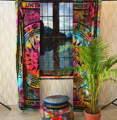 Indian Mandala Wall Decor Multi Cycle of Ages Hippie Cotton Window Door Curtains