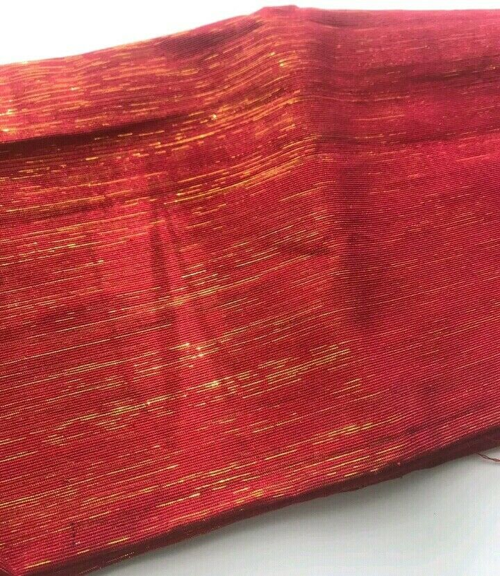 Nigeria Aso Oke GELE (HEAD TIE) Condition is New RED WITH SHINNY GOLD