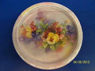 """Paintbox Pansies Pansy Floral Garden Bridal Wedding Party 7"""" Dessert Plates"""