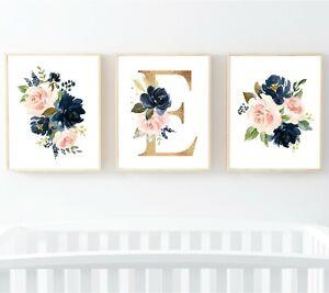 3 Azul Marino Blush Oro Floral Monograma Personalizado flores de vivero Impresiones Arte 623-A